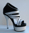 Black and White Leather Sandal 6