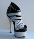 Black and White Leather Sandal 7