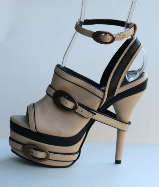 Beige and Black Leather Ankle Strap Slip On 1