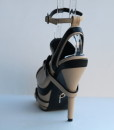 Beige and Black Leather Ankle Strap Slip On 3