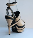 Beige and Black Leather Ankle Strap Slip On 5