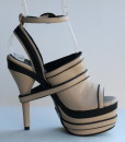 Beige and Black Leather Ankle Strap Slip On 7