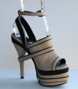 Beige and Black Leather Ankle Strap Slip On 8