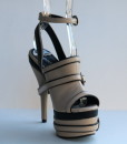 Beige and Black Leather Ankle Strap Slip On 9