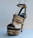 Beige and Black Leather Ankle Strap Slip On 11