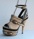 Beige and Black Leather Ankle Strap Slip On 12