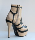 Beige and Black Leather Bootie 5