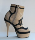 Beige and Black Leather Bootie 6