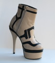 Beige and Black Leather Bootie 7