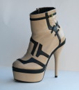 Beige and Black Leather Bootie 9