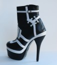 Black and White Leather Bootie 2
