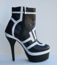 Black and White Leather Bootie 6