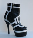 Black and White Leather Bootie 7