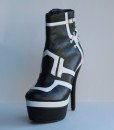 Black and White Leather Bootie 10