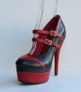 Tongue Black and Red Leather Pump 10