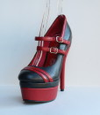 Racing Stripes Black and Red Leather Pump 11