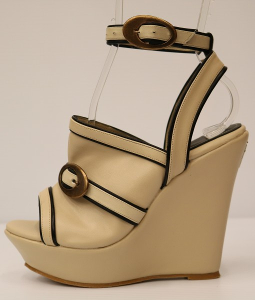 Beige and Black Artificial Leather Ankle Strap Slip On 1
