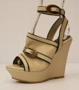 Beige and Black Artificial Leather Ankle Strap Slip On 10