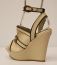 Beige and Black Artificial Leather Ankle Strap Slip On 2