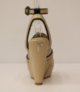 Beige and Black Artificial Leather Ankle Strap Slip On 4