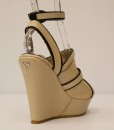 Beige and Black Artificial Leather Ankle Strap Slip On 5