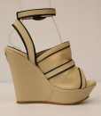 Beige and Black Artificial Leather Ankle Strap Slip On 6