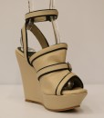 Beige and Black Artificial Leather Ankle Strap Slip On 7