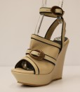 Beige and Black Artificial Leather Ankle Strap Slip On 9