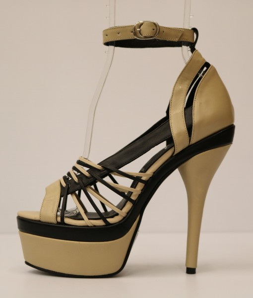 Beige and Black Artificial Leather Cross and Ankle Strap 1