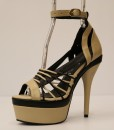 Beige and Black Artificial Leather Cross and Ankle Strap 12