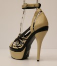 Beige and Black Artificial Leather Cross and Ankle Strap 2