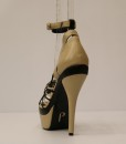 Beige and Black Artificial Leather Cross and Ankle Strap 3