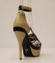 Beige and Black Artificial Leather Cross and Ankle Strap 5