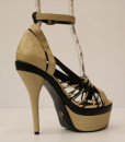 Beige and Black Artificial Leather Cross and Ankle Strap 6