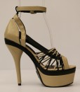 Beige and Black Artificial Leather Cross and Ankle Strap 7