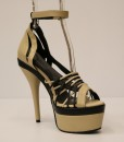 Beige and Black Artificial Leather Cross and Ankle Strap 8