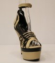 Beige and Black Artificial Leather Cross and Ankle Strap 9