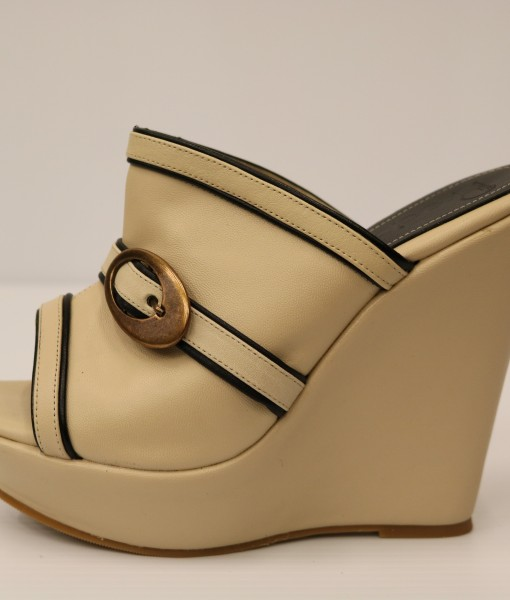 Beige and Black Artificial Leather Slip On 1