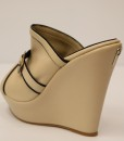 Beige and Black Artificial Leather Slip On 2