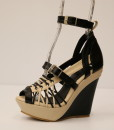 Black and Beige Artificial Leather Cross and Ankle Strap Wedge 10