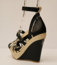 Black and Beige Artificial Leather Cross and Ankle Strap Wedge 2