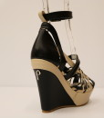 Black and Beige Artificial Leather Cross and Ankle Strap Wedge 4