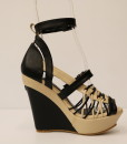 Black and Beige Artificial Leather Cross and Ankle Strap Wedge 5
