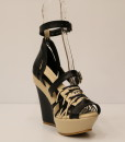 Black and Beige Artificial Leather Cross and Ankle Strap Wedge 6