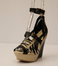 Black and Beige Artificial Leather Cross and Ankle Strap Wedge 8
