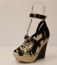 Black and Beige Artificial Leather Cross and Ankle Strap Wedge 9