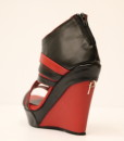 Black and Red Artificial Leather Wedge Sandal 2