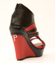 Black and Red Artificial Leather Wedge Sandal 4