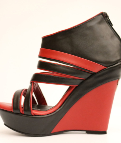 Black and Red Artificial Leather Wedge Sandal 1