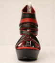 Black and Red Artificial Leather Wedge Sandal 7